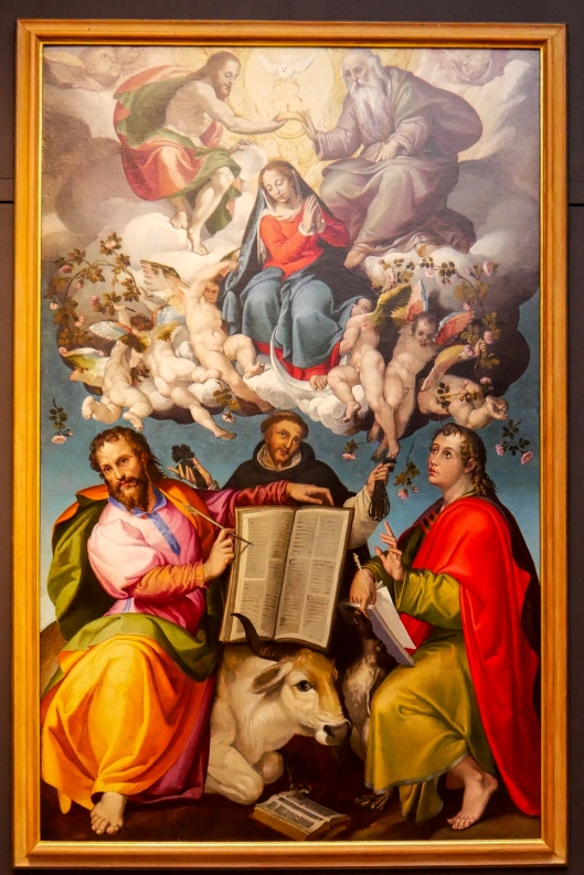 SA ART GALLERY - INTERNATIONAL COLLECTION - 16TH CENTURY - BARTOLOMEO PASSEROTTI - The Coronation of the Virgin with Saints Luke, Dominic and John the Evangelist (c. 1580)