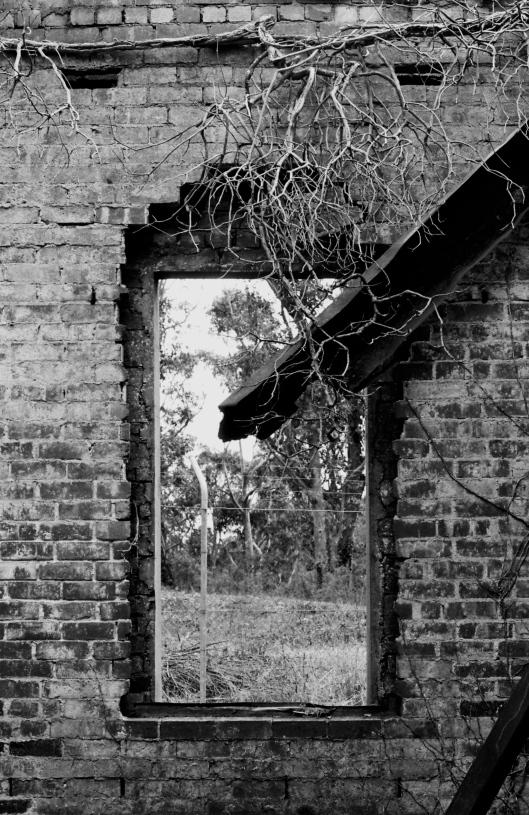 15. through a window